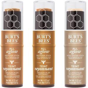 Burt's Bees All Aglow Bronzer Stick OR Highlighter Stick ~ SEALED