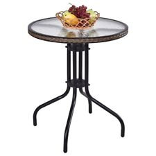 "New 24"" Outdoor Patio Furniture Tempered Glass Top Steel Frame Round Table US"