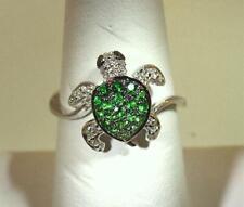 13MM 14K WHITE GOLD 0.31CTS GREEN GARNET 0.11CTS DIAMOND HAWAIIAN TURTLE RING 7