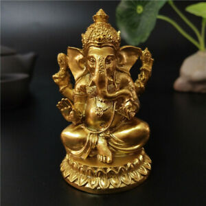 Gold Lord Ganesha Statue Hindu God Sculpture Figurines Statues Free Shipping