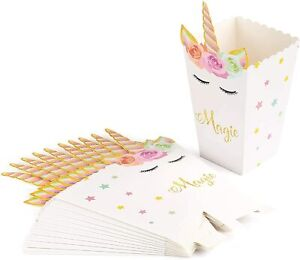 Magical Unicorn Treat Boxes for Popcorn, Sweet Favours, Party Bags, Sleepover UK