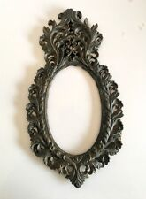 Vintage Old Cast Iron Beautiful Floral Royal Wall Hanging Mirror Frame