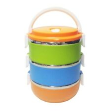 Korean Candy 3-Tier Stainless Steel Lunch Box (Multicolor)
