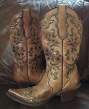 STETSON WESTERN BOOTS CUT-OUT DESIGN / RHINSTONES TAN LEATHER SIZE 8.5