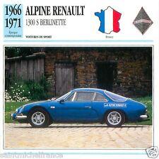 ALPINE RENAULT 1300 S BERLINETTE 1966 1971 CAR VOITURE FRANCE CARTE CARD FICHE