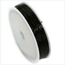 Fil Cordon Elastique de Nylon 0,8mm – 18 Mètres Noir pour création de bijoux