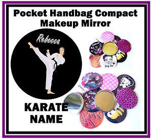 KARATE (ANY NAME) - FUN HANDBAG / POCKET MAKE-UP COMPACT MIRROR - NEW - GIFT