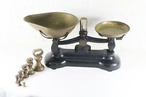 Vintage Libra Kitchen Scales & Weights EnglandAntique Black & Brass + Weights