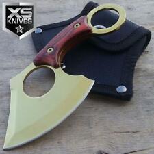 "New listing 6.5"" Tactical Gold Pakka Wood Titanium Fixed Blade Full Tang Karambit Style Axe"