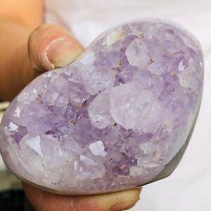 255g Natural Agate Amethyst geode quartz cluster crystal specimen Healing V137