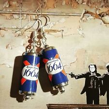 Unique KRONENBOURG EARRINGS handcrafted  drink LAGER beer PUB cans MINIATURE