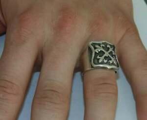 925 Vintage Heavy Men's Rocker Biker Crest Shield Fleur De Lis Signet Ring Sz 10