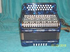 Hohner 3 row Accordion button box G C F Accordian Germany Blue V.Clean Corona ?