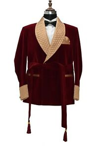 Men Maroon Smoking Jackets Robe Quilted Lapel Belted Dinner Party Wear Coats
