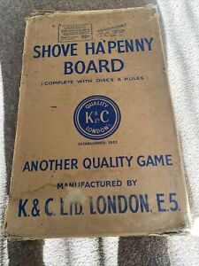 VINTAGE K&C LONDON TRADITIONAL SHOVE HA'PENNY BOARD PUB GAME WITH BOX