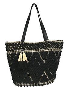 Crochet Beach Shoulder Bag Cotton Knit Bag Black Beige Bag By Matalan
