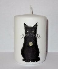 Black Cat Pillar Candle 10 cm high Wiccan, Pagan Hand crafted Gift Halloween