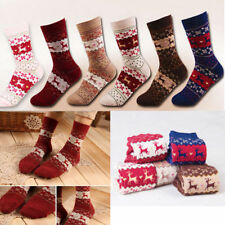 5pair Women Christmas Snowflake Deer Socks Warm Soft Wool Long Thick Winter Gift