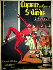 New ListingOriginal Vintage French Liqueur St Bart Poster On Linen Wine And Spirits