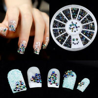 Bulk 300 pcs 3D Nail Art Tips Crystal Glitter Rhinestone Pearl Decoration Wheel