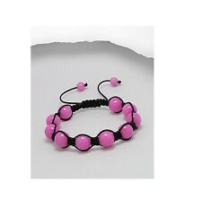 Bright Pink Natural Stone Jade Black Cord 10MM Bead Adjustable Bracelet