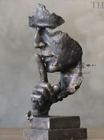 Art Deco Face resin bronze Sculpture Abstract Statue Silence is Gold 13 inch