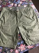 Fat Face Shorts - Size 34 Waist, Green With Cactus Print