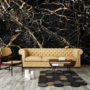 Vlies Fototapete Marmor gold schwarz Modern Steinoptik Steinwand Wohnzimmer XXL