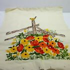 """Crewel Embroidered Flower Fence Tapestry Vintage Colorful 22"""" Long Hand Crafted"""