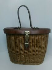 Vintage Etienne Aigner Handmade Wicker Creel With Leather Lid Fishing Basket