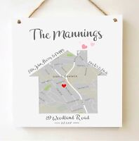 Large Handmade Personalised New/First Home House Map Plaque/Sign Keepsake Gift