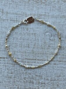 """Vintage Holly Yashi Silver 9"""" Beaded Czech Glass and Pearl Anklet"""