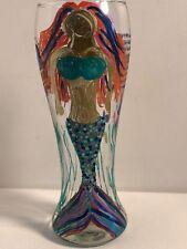 Blue Moon Beer Pilsner drinking glass Painted Mermaid Sea Scene