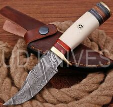 UD HANDMADE FIXED BLADE DAMASCUS ART HUNTER SKINNER KNIF CAMEL BONE HANDLE 10273