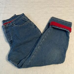 LL Bean Womens Original Fit Relaxed Blue Jeans Red Fleece Lined Size 14P
