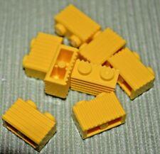 8 ~ 1x2 Yellow Grooved / Ridged Bricks ~ Lego ~ NEW