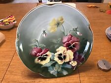 """K & G Luneville France 1920's - 1930's 11.5"""" Decorative Wall Plate Pansy"""