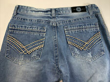 FIEND Men's 36x32 Blue Jeans Modern Baggy Green Stitching Embroidered -28E