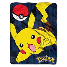 "Pokemon Pikachu Silk Touch Throw Sheet Blanket 46"" x 60"" NEW"