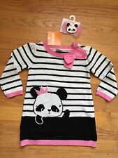 Gymboree Baby Girl 12-18m Panda Sweater Dress& Hair Clip NWT