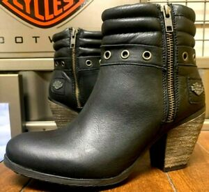 Harley Davidson Woman Size 7 Prototype Black Leather Side Zip New Boots