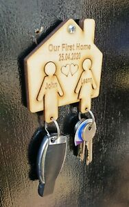 Personalised Our First Home Keyring Wall Holder New House Warming Wooden Gift