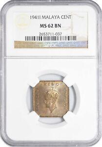 1941 I MS62 BN Malaya Cent NGC UNC KM# 2 363 Registry points!
