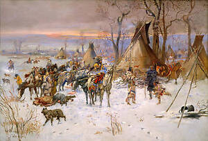 Charles Marion Russell  Hunters' Return Giclee Canvas Print