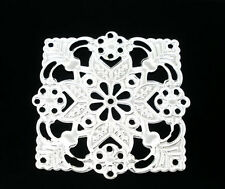50 4Hole Filigree Square Flower Charm Connector 39x39mm
