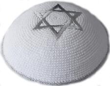 KNITTED STAR OF MAGEN DAVID KIPPAH KIPPOT YARMULKA YARMULKE 26 WHITE & SILVER