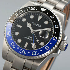 BLIGER 43mm black dial ceramic bezel sapphire glass GMT Automatic men's watch 22