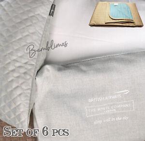 set of 6pcs ClubWorld British Airways 1x Blanket +1 Cushion Cover +4 Pillow Case