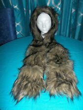 ALL IN ONE FAUX FUR BEAR SCARF, MITTENS, HOOD UNISEX