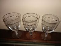Vintage Set of 3 Wheel Cut Crystal Pedestal Wine Glass by Tiffin Glass Co Mona